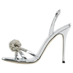 Giuseppe Zanotti NEW Silver Patent Leather Crystal Sandals Heels in Box