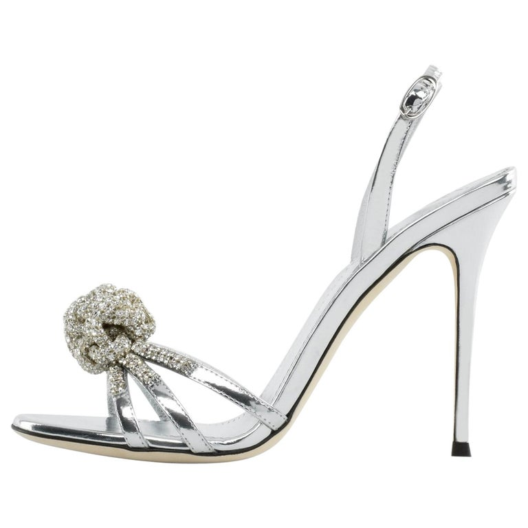 Giuseppe Zanotti NEW Silver Patent Leather Crystal Sandals Heels in Box For Sale