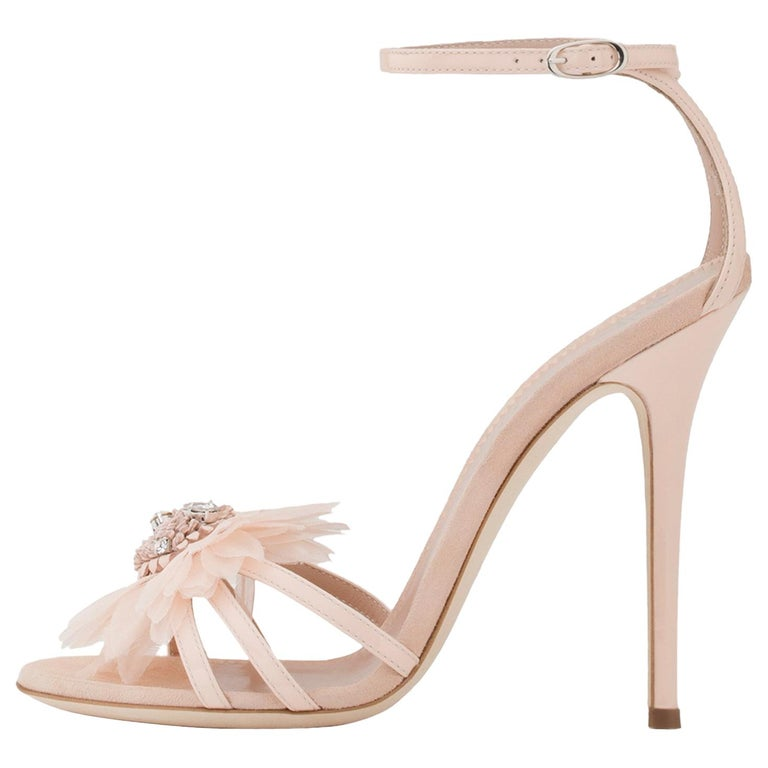 Giuseppe Zanotti NEW Blush Patent Crystal Applique Evening Sandals Heels in Box For Sale