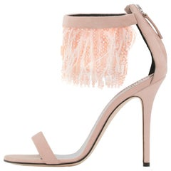 Giuseppe Zanotti NEW Blush Suede Feather Bead Evening Sandals Heels in Box