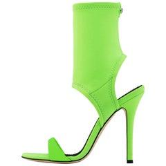 Giuseppe Zanotti NEW Lime Green Neoprene Sock Evening Boots Booties Heels in Box