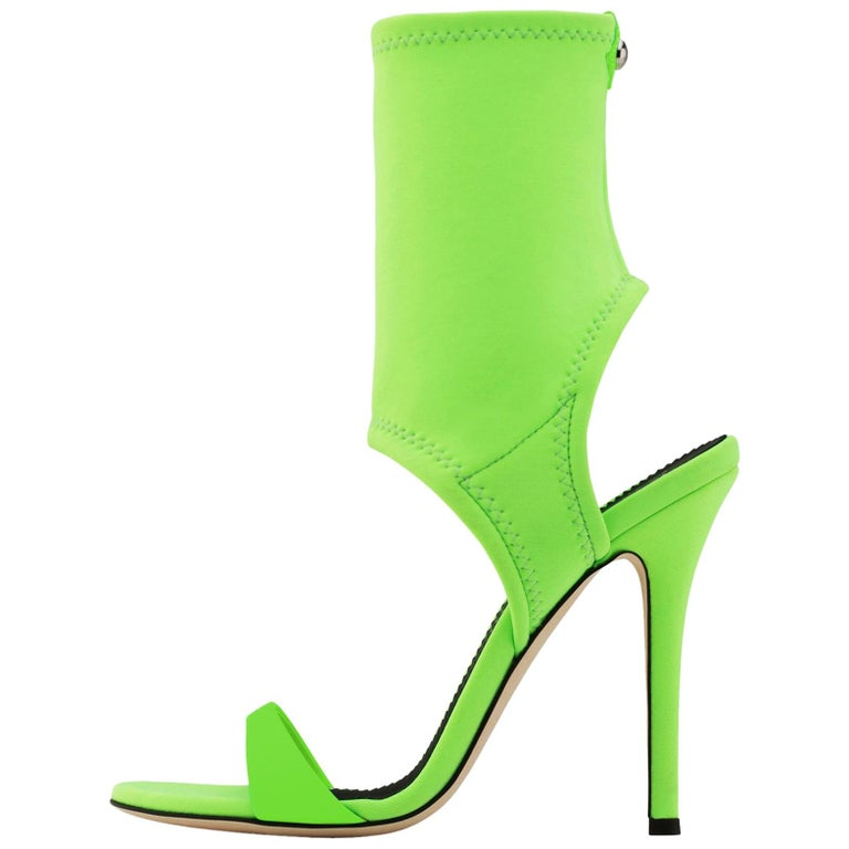 Giuseppe Zanotti NEW Lime Green Neoprene Sock Evening Boots Booties Heels in Box For Sale