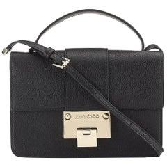 New JIMMY CHOO 'Rebel' Black Grainy Calf Leather Cross Body Bag