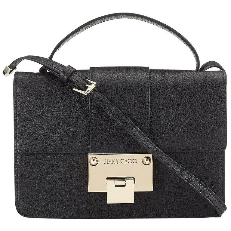 5207256e00a78 New JIMMY CHOO  Rebel  Black Grainy Calf Leather Cross Body Bag For ...