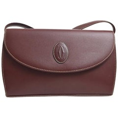 Cartier Burgundy Wine Leather 2 in 1 Clutch Evening Shoulder Flap Bag