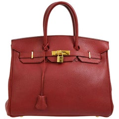 Hermes Birkin 35 Red Leather Gold Top Handle Satchel Travel Bag