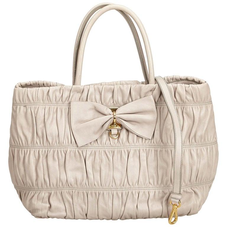 b5b5d0674d60 Prada Gray Gathered Leather Tote Bag at 1stdibs