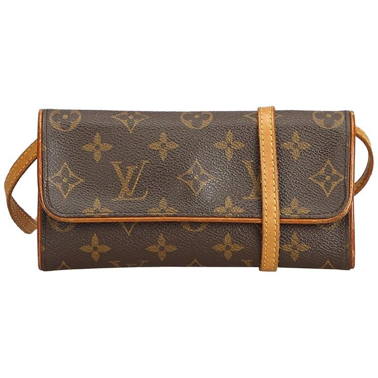 Louis Vuitton Brown Monogram Pochette Twin PM For Sale