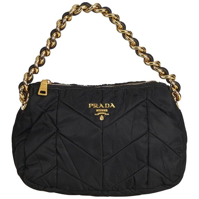 5d9337678e98 Prada Black Quilted Nylon Chain Shoulder Bag at 1stdibs