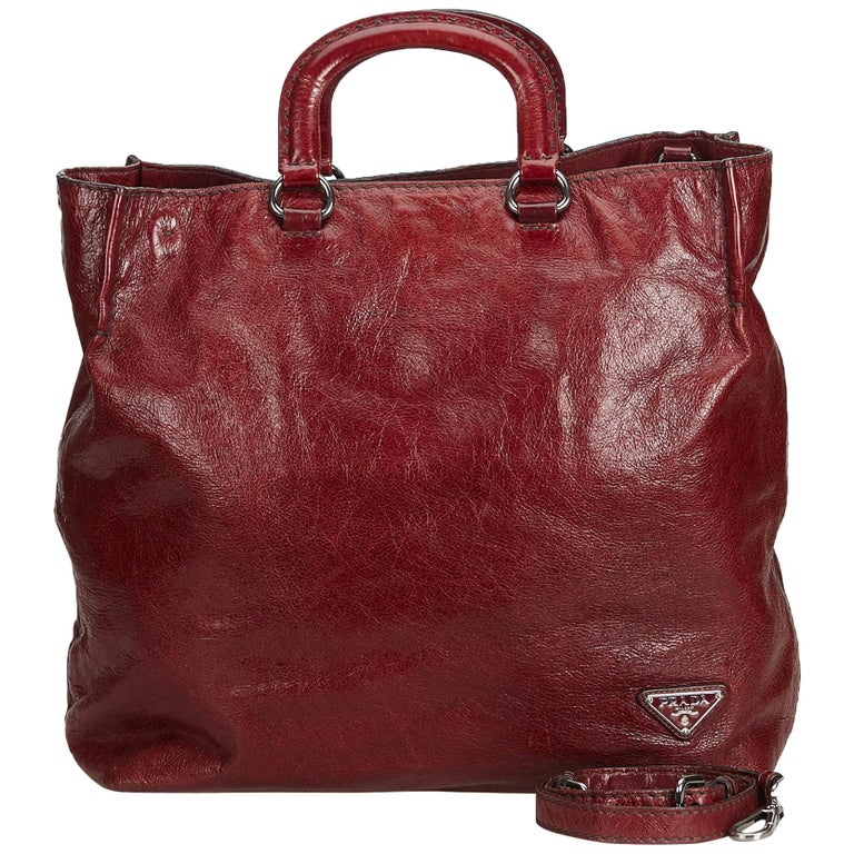 53e75730ad59 Prada Red Leather Satchel Bag at 1stdibs