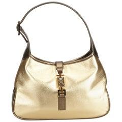 Gucci Gold Metallic Leather Jackie