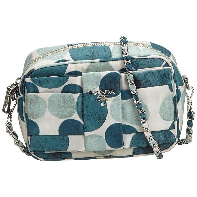 f080653c749a Prada White Polka Dot Nylon Chain Crossbody Bag For Sale at 1stdibs