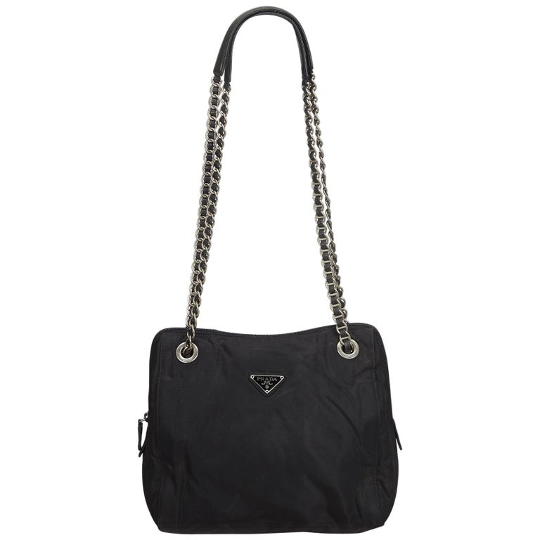 Prada Black Nylon Chain Tote Bag at 1stdibs 6181c796e0b53