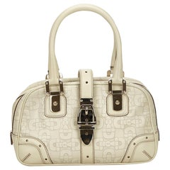 Gucci White Leather Horsebit Handbag