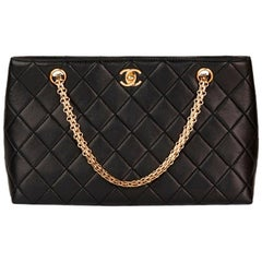 Chanel Black Quilted-Leather Classic Shoulder Bag