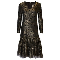 Vintage Caroline Charles Gold Lace Dress