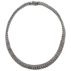 Art Deco DRGM Silver Tone and Channel Set Rhinestone Necklace, 1930s German