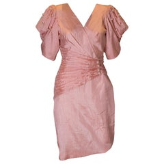 1980s Cocktail Dress in Powder Pink with Pearl Decoration.