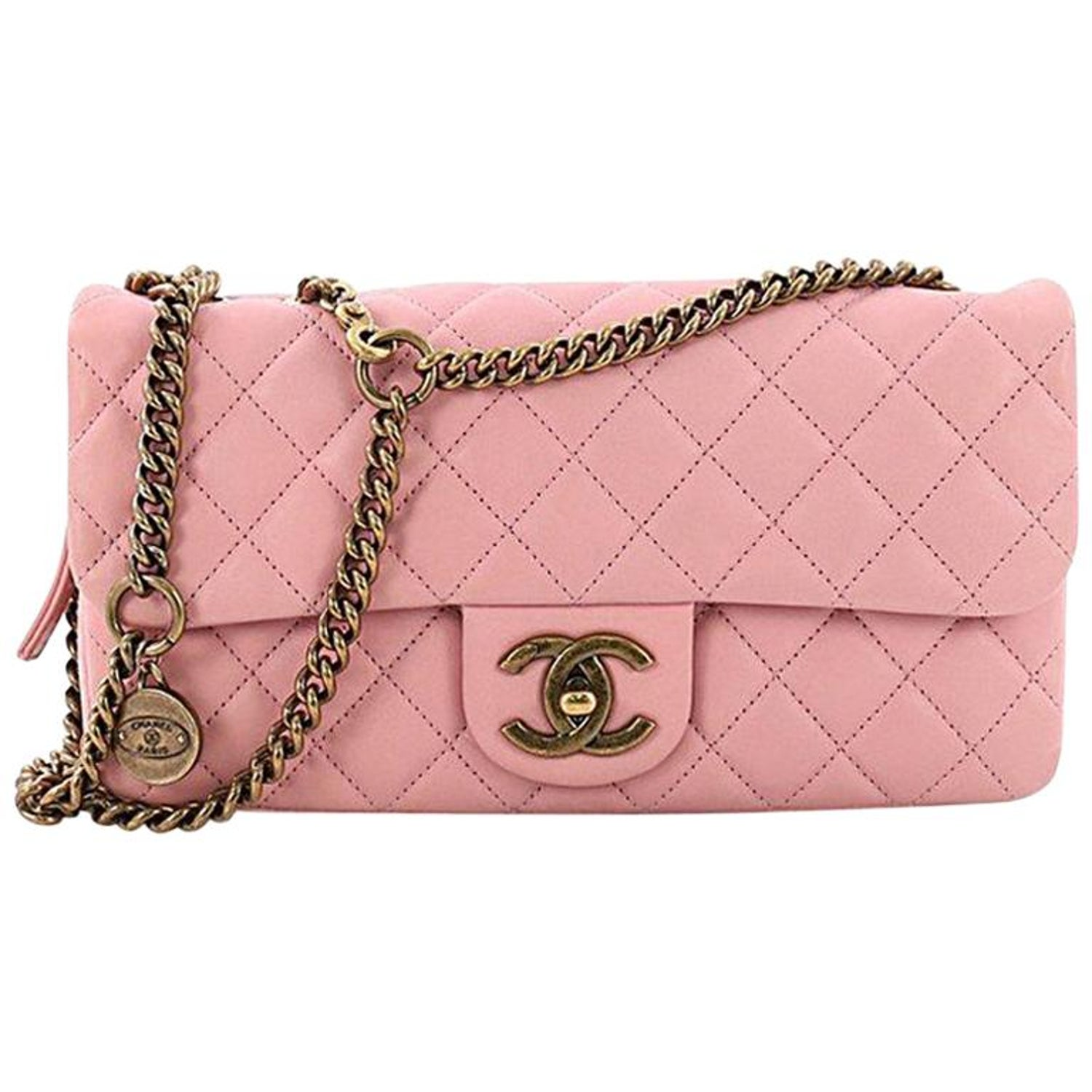 070fe16ff668 Chanel Cc Crown Flap Bag Quilted Leather Small At 1stdibs