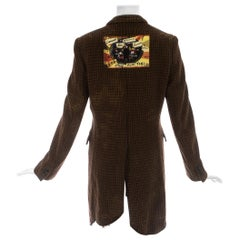 Comme des Garcons Homme Plus brown wool bleached checked punk coat, ca. 2008