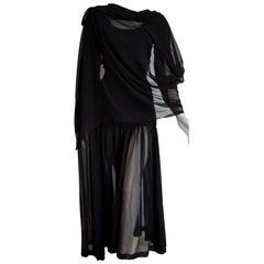 Isabelle ALLARD Paris chiffon sleeves woolen bodice black dress - Unworn, New
