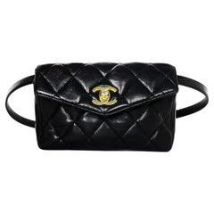 Chanel Vintage Black Lambskin Leather Quilted Belt Bag W/ Patent Belt Sz 34