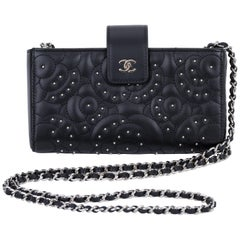 New Chanel Black Camellia Stud Crossbody Bag