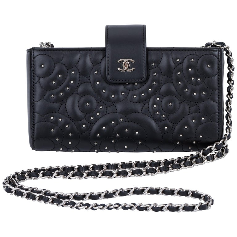 78833974ae47 New Chanel Black Camellia Stud Crossbody Bag For Sale at 1stdibs