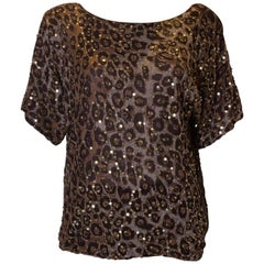 Vintage Frank Usher Sequin Animal Print Top