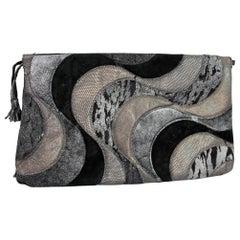 1980s Roberto Cavalli Black Silver Leather Suede Handbag