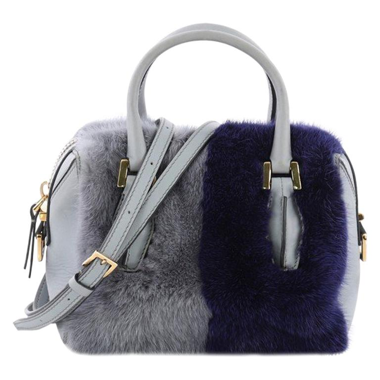 Tod's D Cube Convertible Bauletto Handbag Fur and Leather Mini For Sale