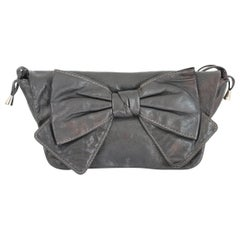 1990s Dolce & Gabbana Maika Black Bow Leather Shoulder Bag