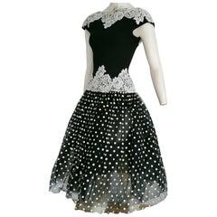 Isabelle ALLARD Paris polka dots, waist lace, black silk wool dress- Unworn, New