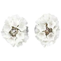 Murano Glass Flower Earclips