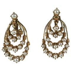 Victorian Style Pearl Hoop Earrings