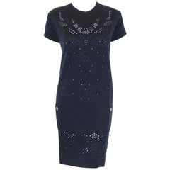 Chanel Navy Blue Cap Sleeve Chemise Cotton  Dress
