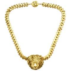 Chanel Vintage 1950er Goldfarbenes Löwenkopf Halsband Halskette