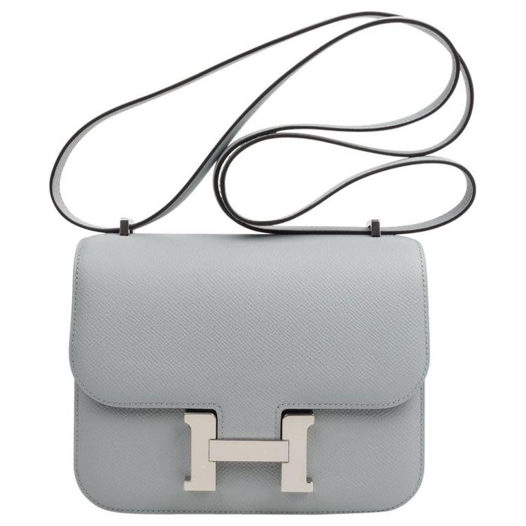 Hermes Constance 18 Bag Blue Glacier Epsom Palladium Hardware New For Sale