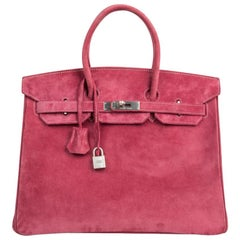 Hermes Birkin 35 Bag Fuchsia Pink Doblis Palladium Rare