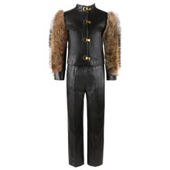 c.1970's 2 Piece Brown Leather Raccoon Fur Sleeve Jacket Pants Suit Set