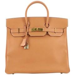 Hermes Birkin HAC Handbag Natural Courchevel with Gold Hardware 32