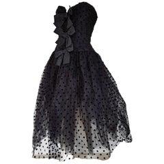 Isabelle ALLARD Paris polka dots, plumetis fabric, black dress - Unworn, New