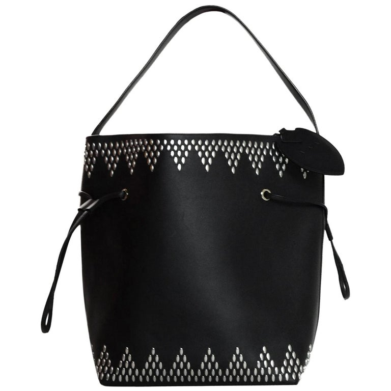 Alaia Black Leather Silver Studded Bucket Bag w. Pouch & Mirror For Sale