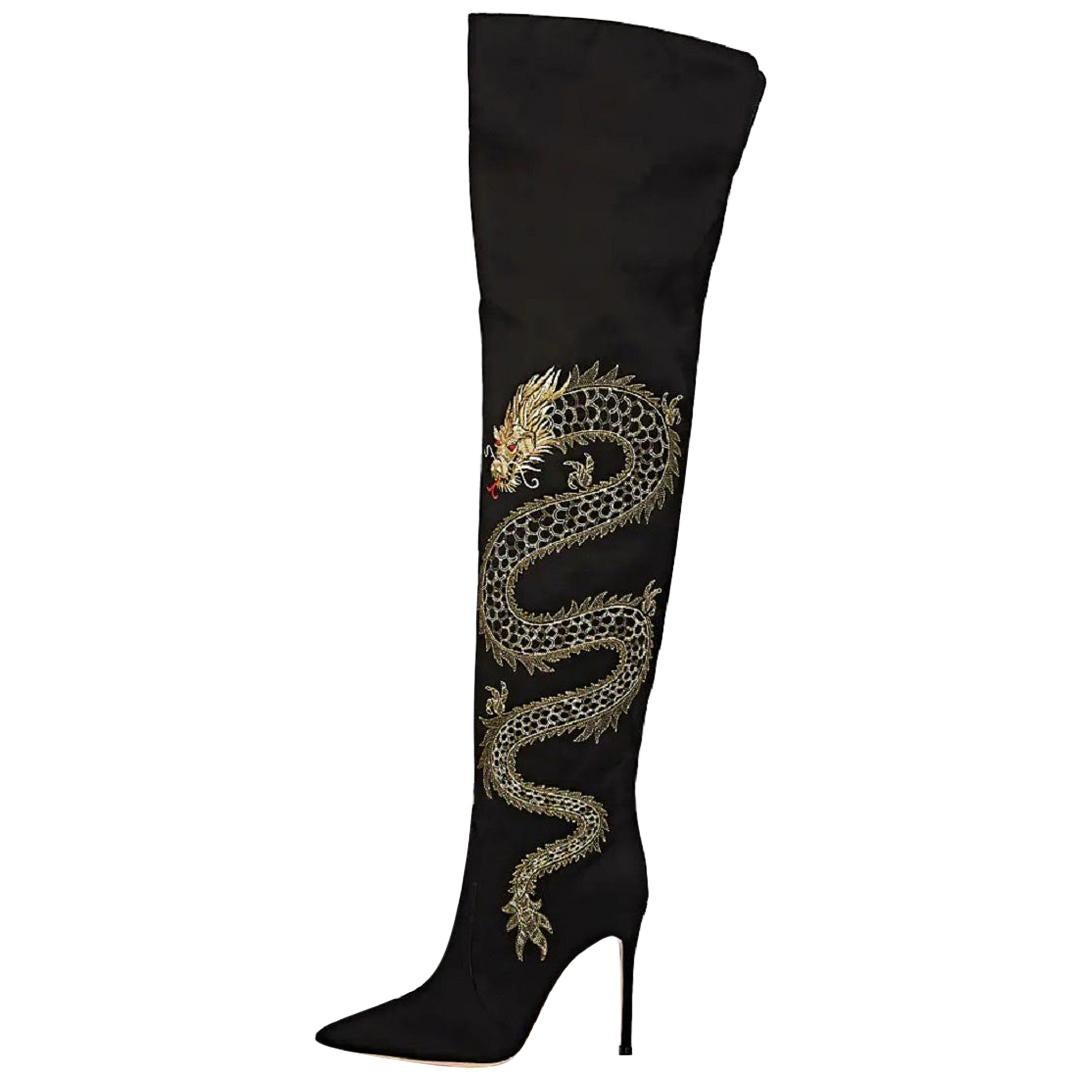 New GIANVITO ROSSI Embroidered Dragon Cuissard Over Knee Boots It. 35.5 - 5.5