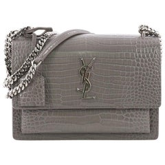 Saint Laurent Sunset Crossbody Bag Crocodile Embossed Leather Medium