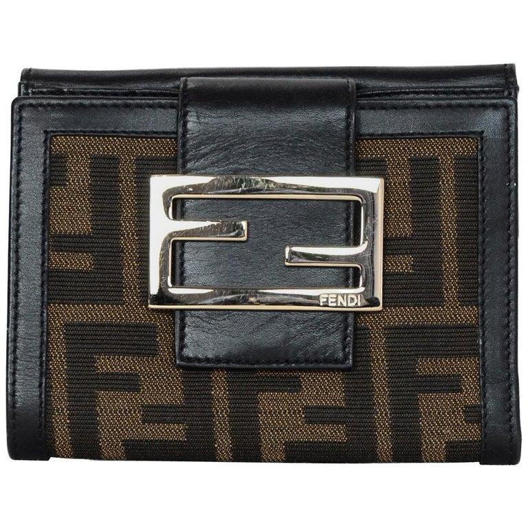 7e2970a7 Fendi Brown Zucca Monogram Compact Wallet W/ FF Logo Buckle