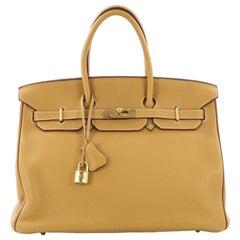 Hermes Special Order Birkin Handbag Bicolor Clemence With Gold Hardware 35