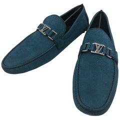 Louis Vuitton men Loafers in blue suede // Model: Hockenheim // Size: 10 // New