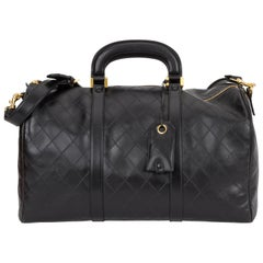 Chanel 1990's Rare Black Diamond Quilted Duffle