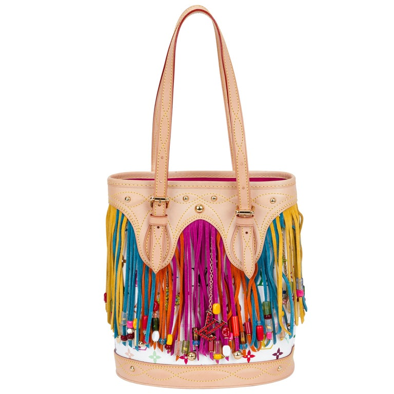 e6497089028a Louis Vuitton Limited Edition Multicolor Fringe Bucket Bag For Sale ...